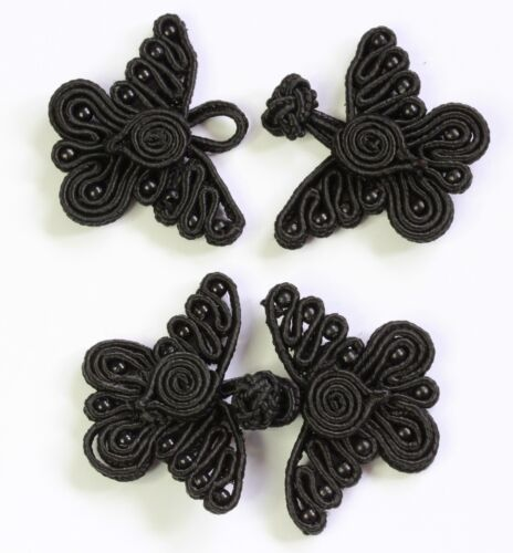 Black  # S18 1 pair butterfly frog fasteners closure button knots Colour