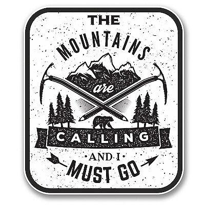 2 X las montañas están llamando pegatina de vinilo de Ski Snowboard Escalada Regalo # 6398//sv