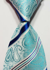 Turquoise White Blue 100% New Paisley Jacquard Woven Silk Men's Tie Necktie Hot