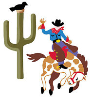 Cowboy Western Horses Pony Cactus 25 Wallies Stickers Rodeo Boys Decals Border