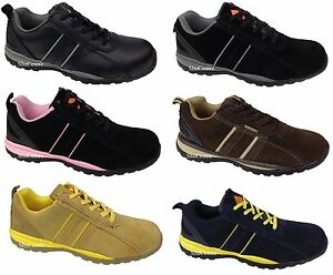 Mens-Womens-Safety-Warehouse-Work-Shoes-Trainers-Suede-Leather-Black-Navy-Brown