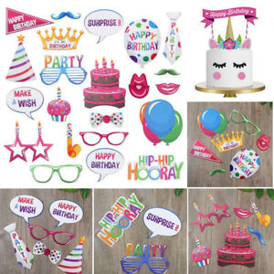 Happy Birthday Photo Booth Props Cake Toppers Banner Selfie Funny Faces Decor UK