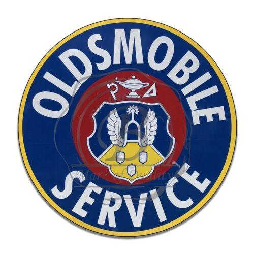 Oldsmobile Automobile Service Crest Design Reproduction Circle Aluminum Sign