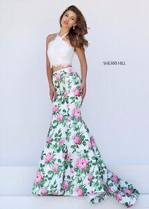 20b52489d2422 Sherri Hill 50398 Ivory Floral Lace Taffeta Crop Top Mermaid Gown ...