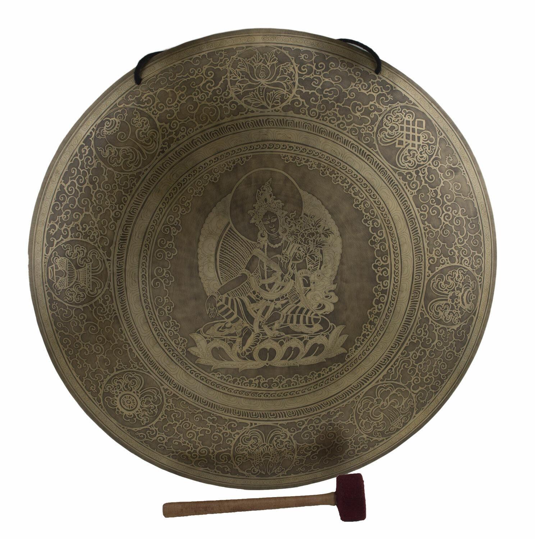Gong Tibetischer Grün Grüne Tara 7 Metalle Gehämmert Ø 60 cm 4kg900 Tibet Nepal