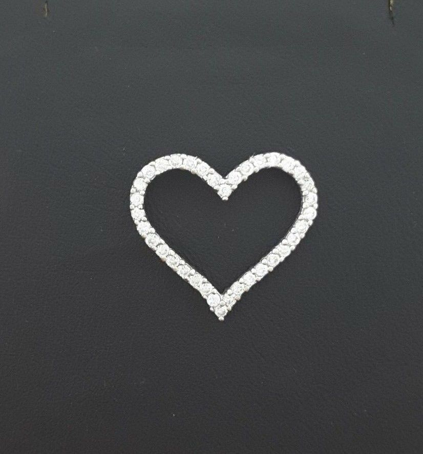 Miran 081153 9ct White gold Slider Heart Pendant with Cubic Zirconia RRP 229
