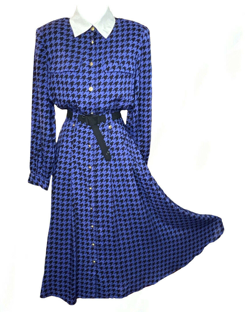 VTG 80s Does 50s Blue Houndstooth Fit Flare Button Down Swing Shirt Dress