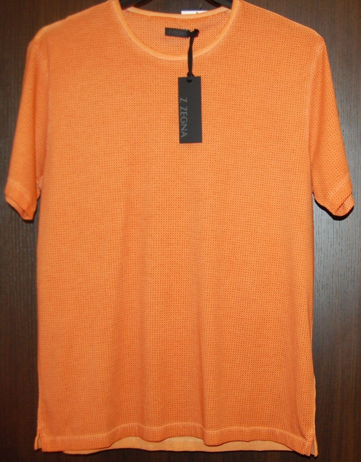 Z Zegna AUTHENTIC Men's orange Dots Cotton T-Shirt Shirt Sz L