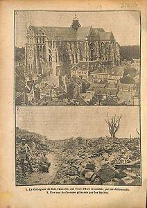 Ruines-Basilique-Saint-Quentin-Rue-de-Craonne-Artillerie-WWI-1917-ILLUSTRATION