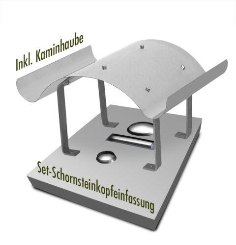Set Schornsteinabdeckung mit Kaminhaube Schornsteinkopfeinfassung Edelstahl
