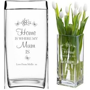 Personalised Engraved Glass Vase Mummy Mum Nan LARGE mother/'s day mothers day