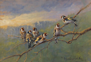 Painting-Madarasz-Goldfinches-On-A-Branch-Xxl-Wall-Canvas-Art-Print