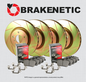 F/&R POSI QUIET CERAMIC Pads 2 PIN BSK83430 BRAKENETIC SLOTTED Brake Rotors
