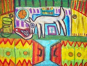 Sneak-Thief-Dog-Folk-Art-Print-8x10-Artist-Kimberly-Helgeson-Sams-Vintage-Style