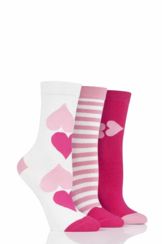 Ladies 3 Pair Lulu Guinness Hearts Cotton Socks
