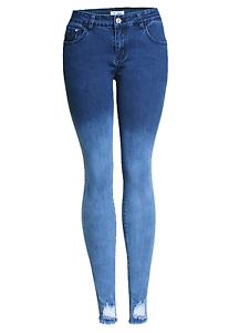 Women`s Stretchy Ripped Skinny Jeans Gradient Effect Blue Low Waist Denim Pants