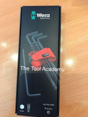10 mm Boxed et Clip 950 PKL9 BM Wera Tools Hex Clé Allen Set Extra long 1.5 mm