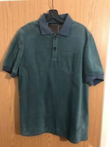 43ce8f09e RRP£1320 GUCCI Mens Green leather Polo Shirt Size 50 L NEW with tags ...