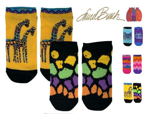 Laurel Burch Womens 2 Pack Vibrant Whimsical Animal Design No Show Socks