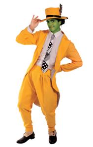Details zu Jim Carey The Mask Herren Bösartiger Superheld Gelber Anzug Halloween Filmkostüm