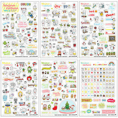 6 Sheets Cartoon DIY Calendar Diary Book Sticker Scrapbook Decoration Planner