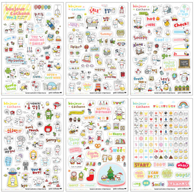 6 Sheets Cartoon DIY Calendar Diary Book Sticker Scrapbook Decoration Planner