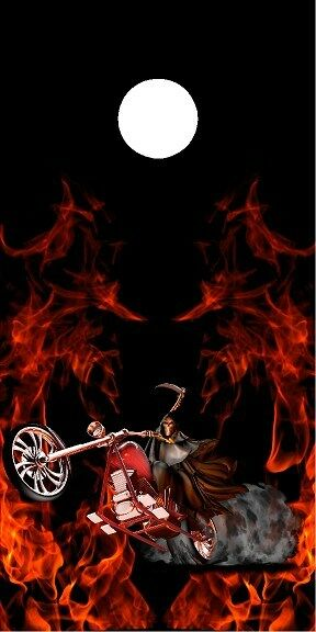 Grim reaper ghost rider flame fire motorcycle cornhole game board decal wraps