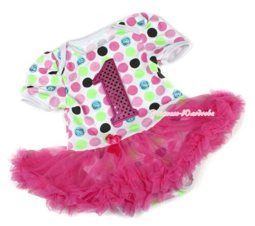 Rainbow Cat Sparkle 1ST Birthday Bodysuit Jumpsuit Hot Pink Baby Dress NB-12M