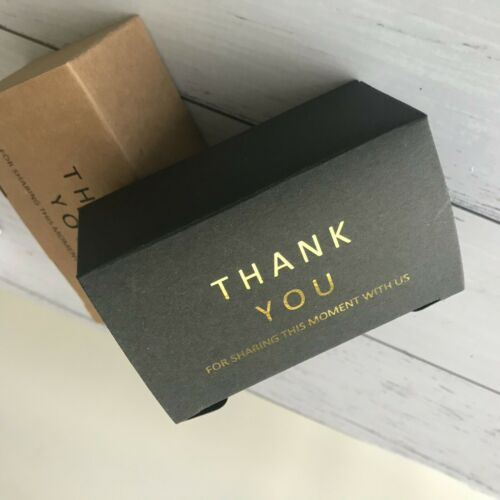 20x Thank You Gold Foil Rectangle Wedding Party Baptism Favor Box Candy Gift Box