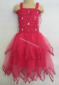 Fairy Dress, Wings Ballet Tutu Dance Costume Hot Pink 5-7 Years Silver Sequins