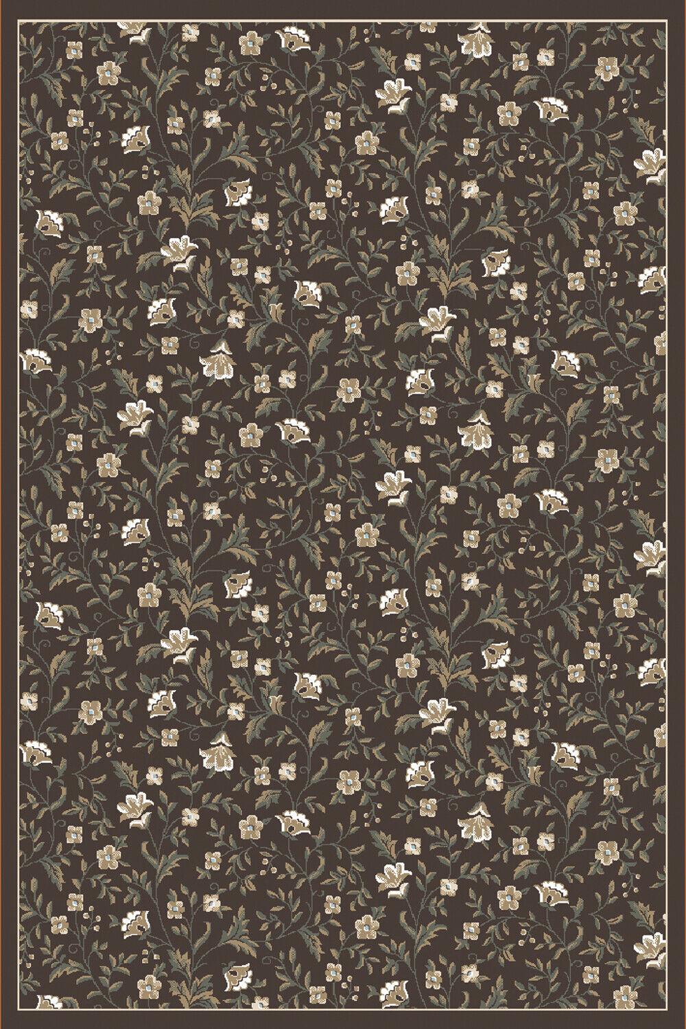 3x5 Radici Marronee Borderosso Leaves Vines Area Rug 6674 - Aprx 3' 3  x 4' 11