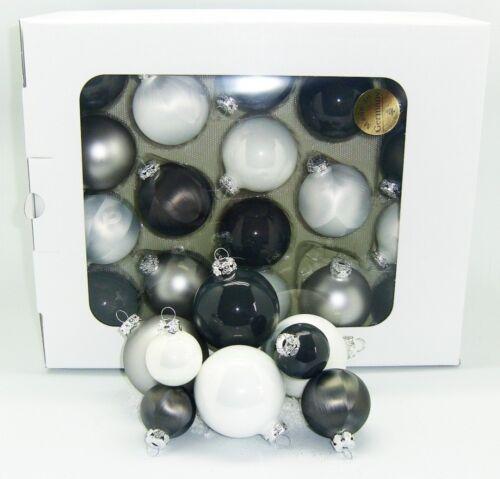gris Anthracite Jack 59x verre boules de Noël 4 5 6 7 cm partiellement eislack blanc