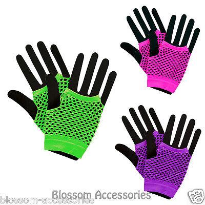 neon purple Short Fishnet Finger-less Gloves 1980/'s Fancy Dress Accessory
