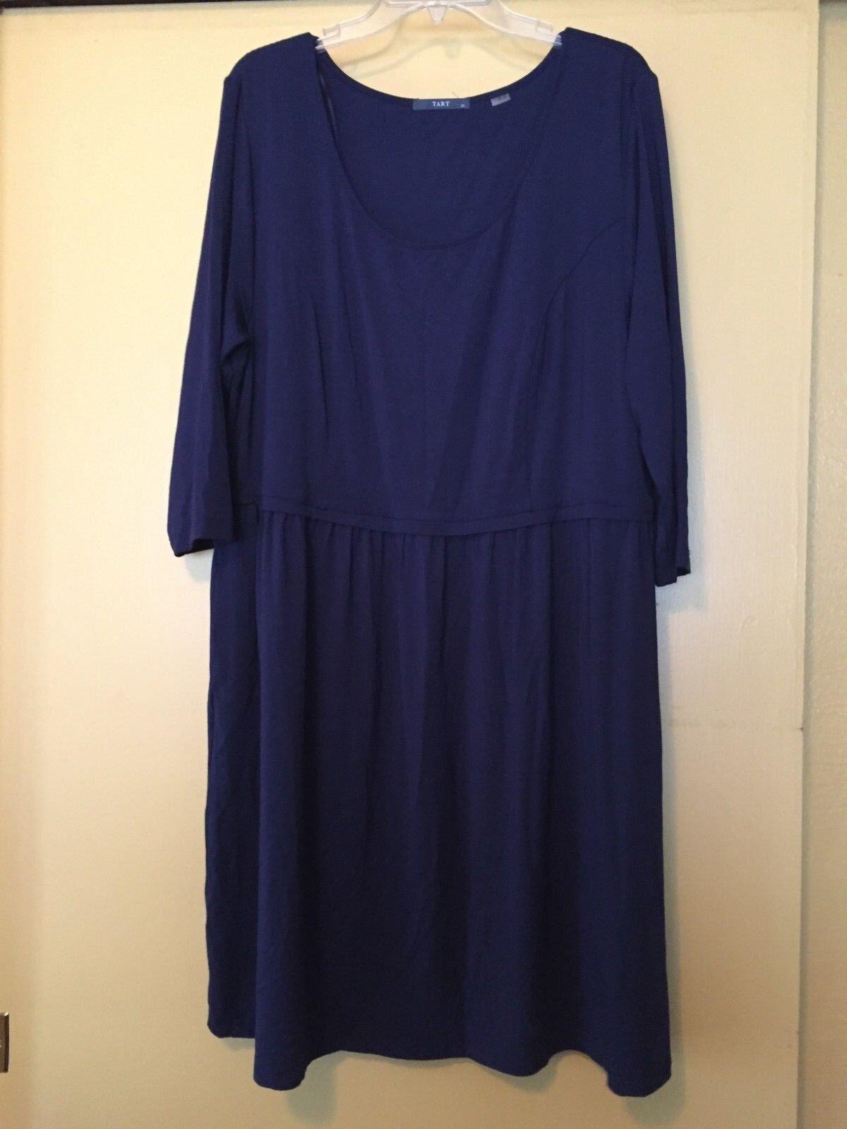 NEW Tart Short Dress, 3 4 Sleeves, Navy bluee Jersey, Size 2X Plus