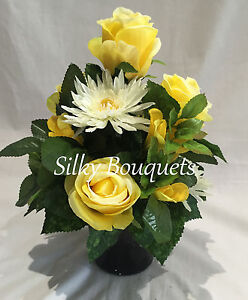 Artificial Silk Grave Pot Flowers Small All Round Yellow Rose Short