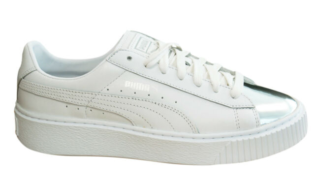 Puma Basket Platform Metallic Womens Trainers Lace Up Silver White 366169  01 D93 63077bf43cf0