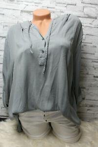 Italy-Shirt-Bluse-Hemd-grau-Gr-36-38-40-42-Vintage-Oversized-Kapuze-blogger-NEU