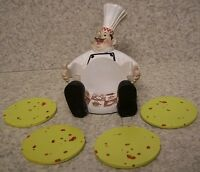 Drink Coaster Set Of 4 Country Chef Holder And Cookie Dough Discs