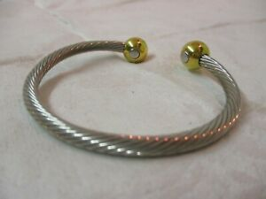 Cuff-Bracelet-silver-tone-twisted-cable-amp-gold-tone-beads-H