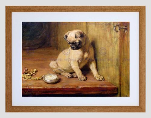 PAINTING ANIMAL PORTRAIT PUG DOG TICK TOCK RIVIERE FRAMED ART PRINT B12X12780