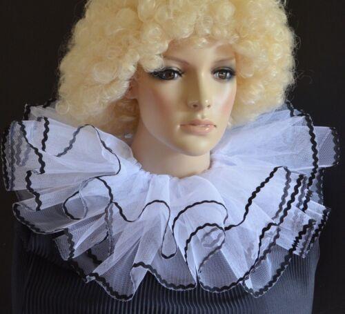 PIERROT Style Bianco /& Nero A Strati Netto Burlesque Clown collare collo Ruff//Ruffle