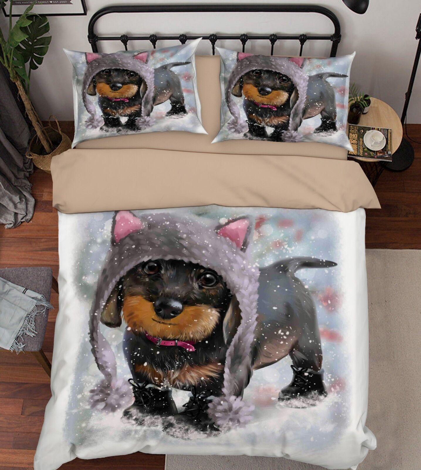 3D Snow Dog Kid 89 Bed Pillowcases Quilt Duvet Cover Set Single Queen King CA
