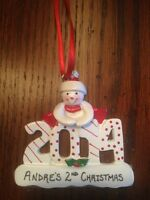 Personalized 2014 Snowman Boy / Girl Christmas Ornament
