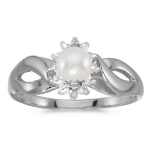 db288150b Image is loading 10k-White-Gold-Freshwater-Cultured-Pearl-And-Diamond-