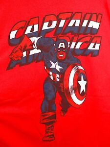 CAPTAIN-AMERICA-Vintage-Style-T-Shirt-XL-Red-Marvel-Comics-Avengers