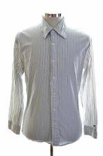 Tommy Hilfiger Mens Shirt Large White Stripe Cotton Slim Fit