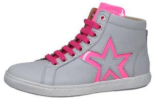 low priced e5763 ee35b Details zu Zecchino d'Oro F12 4222 hohe Sneakers Schuhe Stern Grau Pink  Leder 29 - 37 Neu