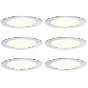 6-x-Paulmann-927-15-LED-Einbauleuchten-Einbaupanel-6-5W-Warmweiss-rund-alu-geb