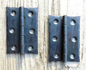 "Black hinges small handmade door cupboard wrought iron antique old  H 3/"" PAIR"