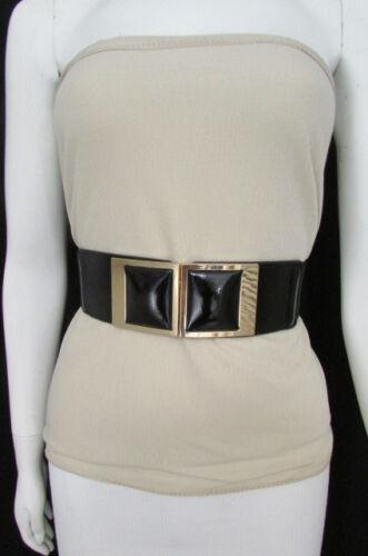 New Women Elastic High Waist Hip Fashion Belt Big Squares Buckle S M Black Brown